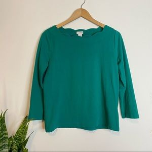 J. by J Crew Scalloped Cotton Top